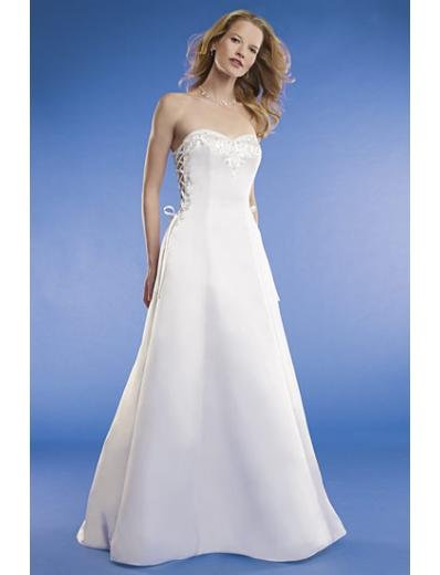 A-line/Princess Strapless Chapel train Satin wedding dress for brides new Style(WED0069)