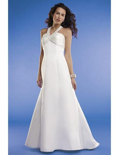 Empire Halter Top Sweep train Satin wedding dress for brides new Style(WED0068)