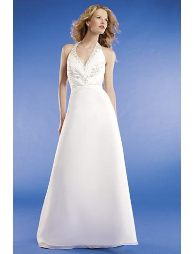 A-line/Princess Halter Top Chapel train Chiffon wedding dress for brides new Style(WED0071)