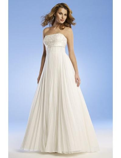 Empire Strapless Sweep train Chiffon wedding dress for brides new Style(WED0059)