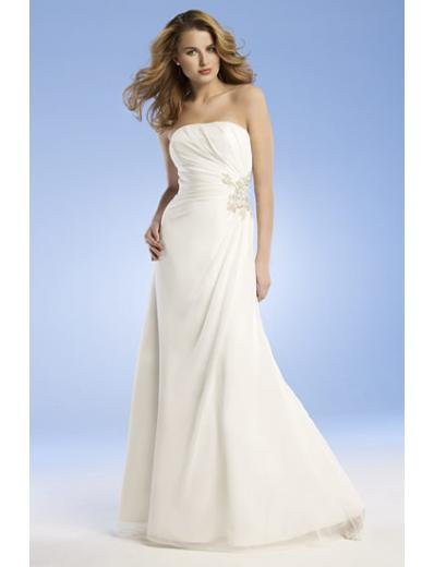 A-Line/Princess Strapless Chapel train Chiffon wedding dress for brides new Style(WED0049)