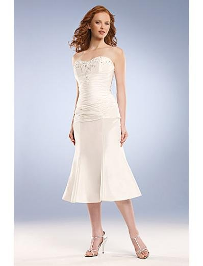 A-Line/Princess Strapless knee-length Satin wedding dress for brides new Style(WD0031)