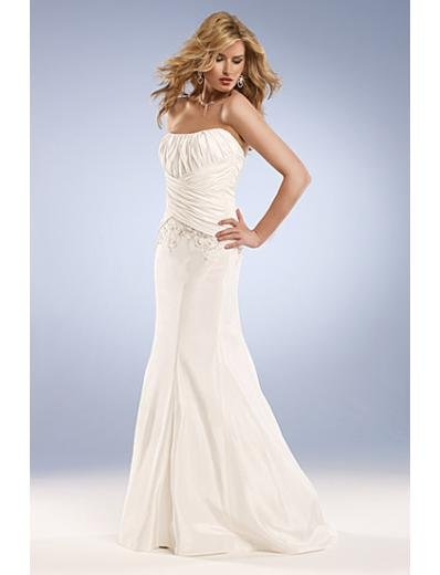 Mermaid Strapless Brush Train Satin wedding dress for brides new Style(WD0036)