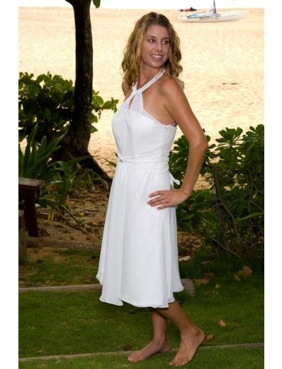 A-Line/Princess Halter Top Tea-length Satin wedding dress for brides new Style(WD0003)