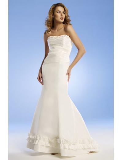 Mermaid Strapless Chapel Train Satin wedding dress for brides new Style(WED0053)