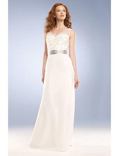 Column/Sheath V-neck Brush Train Chiffon wedding dress for brides new Style(WD0039)