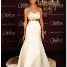 A-Line/Princess Strapless Chapel Train Satin wedding dress (SEW0026)