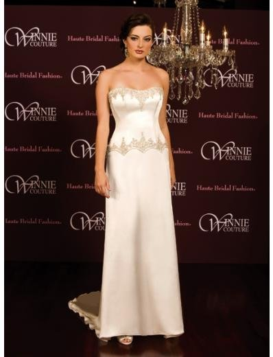 A-Line/Princess Strapless Chapel Train Satin wedding dress (SEW0020)