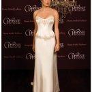 A-Line/Princess Strapless Chapel Train Satin wedding dress (SEW0015)