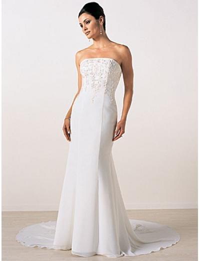 A-Line/Princess Strapless Chapel Train Satin wedding dress (SEW0006)