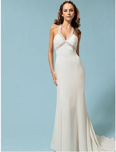 A-Line/Princess Halter Top Chapel Train Satin wedding dress (SEW0007)