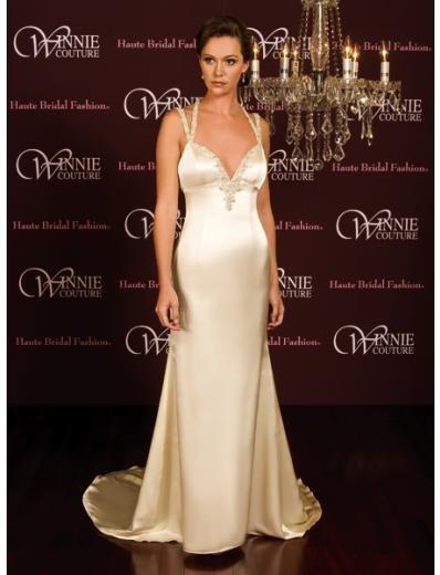 A-Line/Princess V-neck Chapel Train Satin wedding dress (SEW0025)