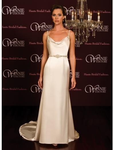 A-Line/Princess spaghetti straps Chapel Train Satin wedding dress (SEW0024)