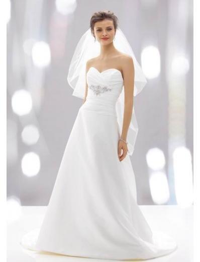 A-Line/Princess Sweetheart Chapel Train Taffeta wedding dress (SEW0034)