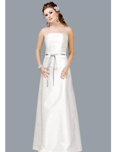 A-Line/Princess Strapless Chapel Train Satin wedding dress(SEW0037)