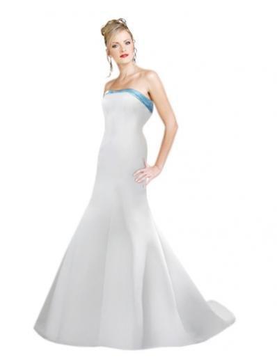 A-Line/Princess Strapless Chapel Train Satin wedding dress (SEW0038)