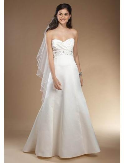 A-Line/Princess Strapless Chapel Train Satin wedding dress (SEW0031)