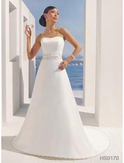 A-Line/Princess Strapless Chapel Train Satin wedding dress (SEW0032)
