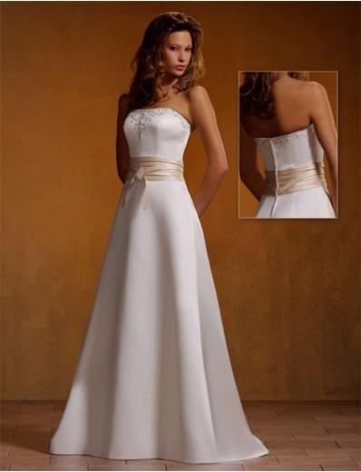 A-Line/Princess Strapless Chapel Train Satin wedding dress (SEW0029)