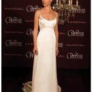 A-Line/Princess Spaghetti Straps Chapel Train Satin wedding dress (SEW0021)