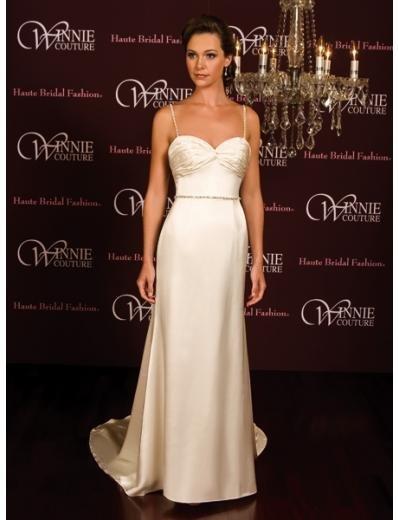 A-Line/Princess Spaghetti Straps Chapel Train Satin wedding dress (SEW0022)