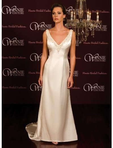 A-Line/Princess V-neck Chapel Train Satin wedding dress (SEW0023)