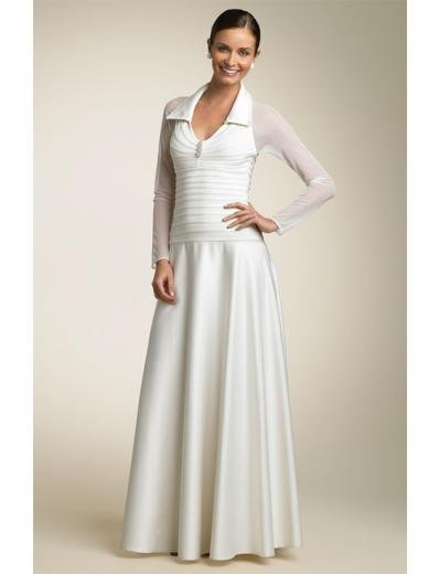 A-line/Princess Heigh-neck Tea-Length Chiffon wedding dress (SEW0676)