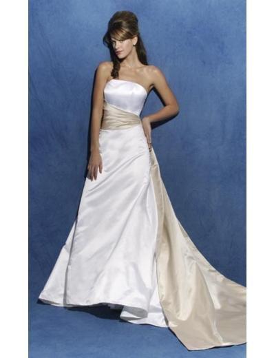 A-Line/Princess Strapless Chapel train Satin wedding dress (SEW0829)