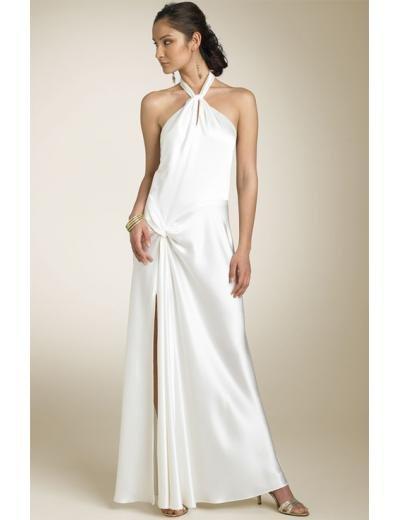 A-line/Princess Halter Top Tea-Length Satin wedding dress(SEW0674)