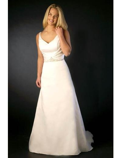 A-Line/Princess V-neck Chapel train Satin wedding dress (SEW0708)