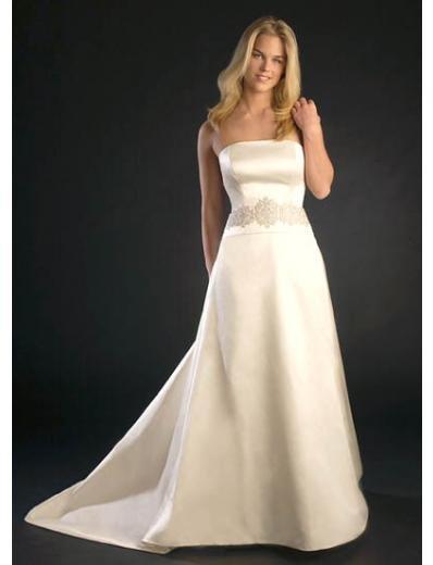 A-Line/Princess Strapless Chapel train Satin wedding dress (SEW0705)