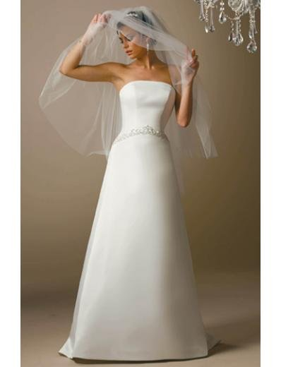 A-Line/Princess Strapless Chapel Train Satin wedding dress (SEW1669)