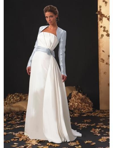 A-Line/Princess Strapless Chapel Train Stain wedding dress (SEW1591)