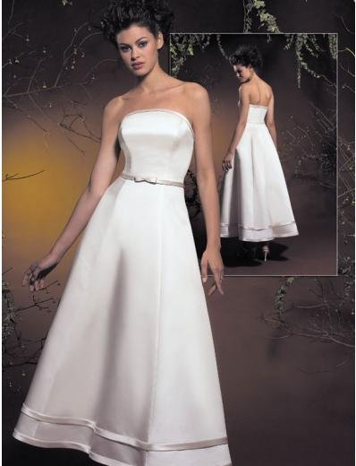 A-Line/Princess Strapless Tea-length Stain wedding dress (SEW1579)