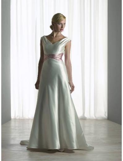 A-Line/Princess V-neck Chapel train Satin wedding dress (SEW0098)