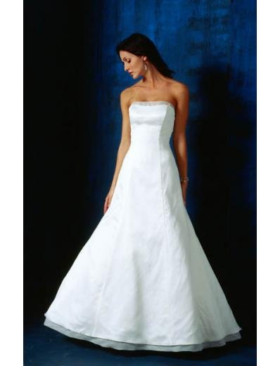 A-Line/Princess Strapless Chapel train Satin wedding dress(SEW0825)