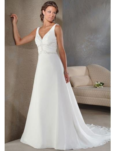 A-Line/Princess V-neck Chapel train Chiffon wedding dress (BST1054)