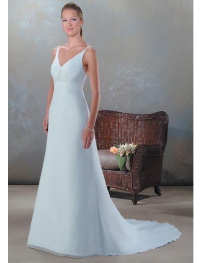 A-Line/Princess V-neck Chapel train Chiffon wedding dress (SEW0047)