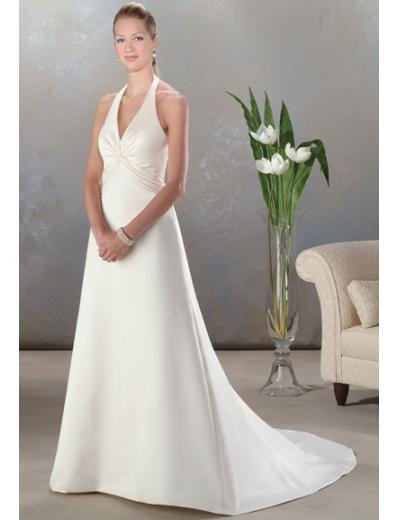 A-Line/Princess Halter Top Chapel train Satin wedding dress (SEW0045)
