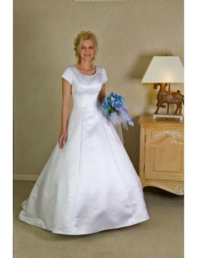 A-line/Princess Scoop Chapel Train Satin wedding dress (SEW0156)