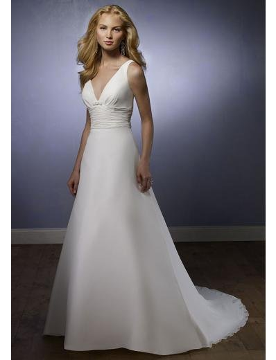 A-Line/Princess V-neck Chapel Train Satin wedding dress (SEW1721)