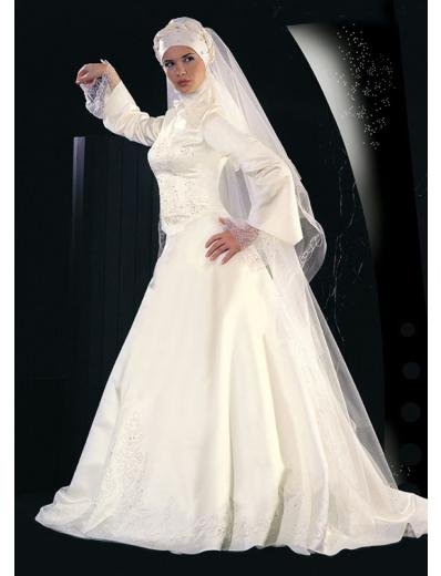New sexy Prom/Ball/Evening Islamic Wedding Dress(MSL019) Custom Size  voile&satin