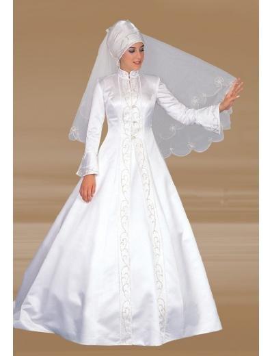 New sexy Prom/Ball/Evening Islamic Wedding Dress(MSL004) Custom Size  voile&satin
