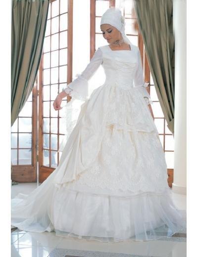 New sexy Prom/Ball/Evening Islamic Wedding Dress(MSL002) Custom Size  voile&satin
