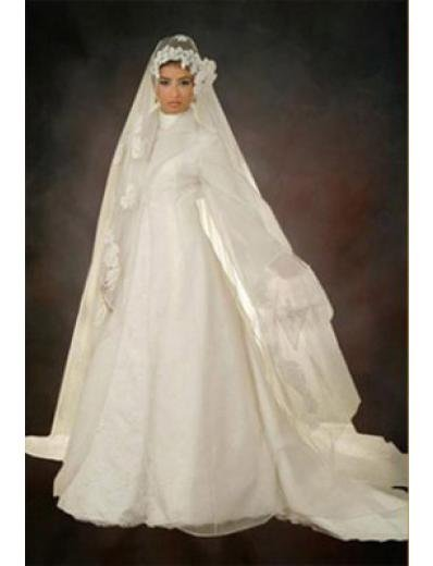 New sexy Prom/Ball/Evening Islamic Wedding Dress(MSL020) Custom Size  voile&satin