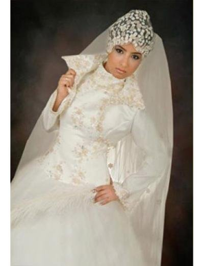 New sexy Prom/Ball/Evening Islamic Wedding Dress(MSL021) Custom Size  voile&satin
