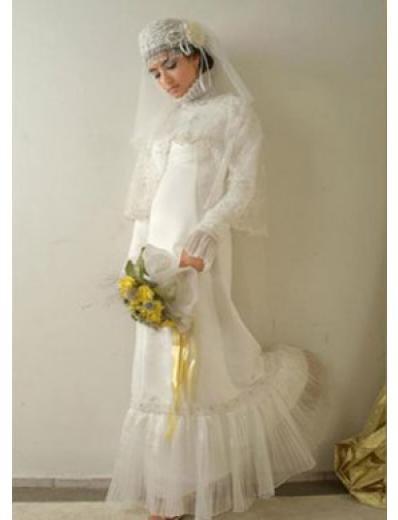 New sexy Prom/Ball/Evening Islamic Wedding Dress(MSL022) Custom Size  voile&satin