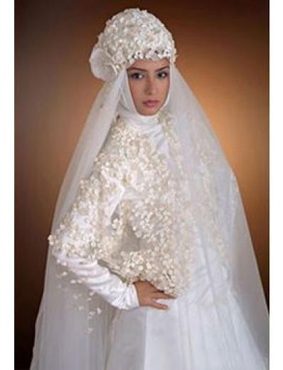 New sexy Prom/Ball/Evening Islamic Wedding Dress(MSL030) Custom Size  voile&satin