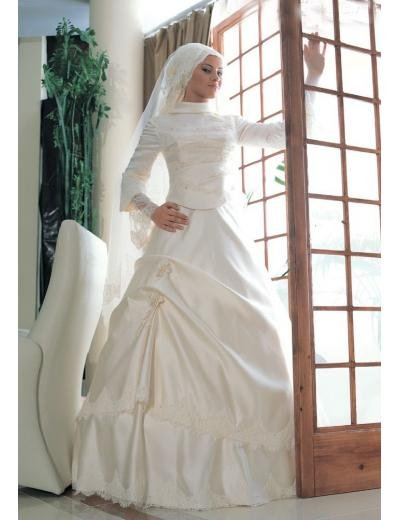 New sexy Prom/Ball/Evening Islamic Wedding Dress(MSL005) Custom Size  voile&satin