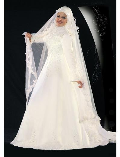 New sexy Prom/Ball/Evening Islamic Wedding Dress(MSL006) Custom Size  voile&satin